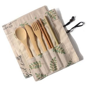 6pcs Eco-Friendly Bamboo Cutlery Set with Pouch- Ocean